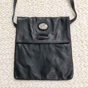 Breezy Mountain Leather Crossbody Black Bag